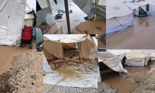 Überflutete Zelte im neuen Camp Kara Tepe auf Lesbos nach dem ersten Herbstregen am 9. Oktober 2020